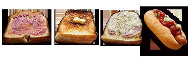 トースト3種&ホットドッグ